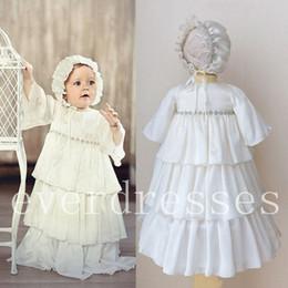 $enCountryForm.capitalKeyWord NZ - Baby Robe Baptism Dresses Infant Christening Gown Chiffon Beaded With Bonnet New