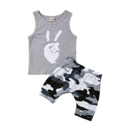 baby fashion clothes 2018 - Fashion Toddler Kids Baby Boy Summer Outfits Finger Print Vest Top + Camo Shorts Boy Clothing cheap baby fashion clothes