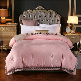 $enCountryForm.capitalKeyWord Canada - 2018 Solid Pink Lace Border Quilting Quilt Silk Cotton Jacquard Polyester Twin Full Queen King Size Winter Comforters Blankets