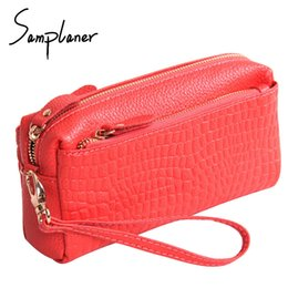 genuine crocodile handbags wholesale 2019 - Samplaner Crocodile Zipper Clutch Bags Women Genuine Leather Wristlet Female Small Crossbody Bags Large Capacity Women&#