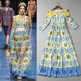 d7e63c8f5480e HIGH QUALITY Vingate Designer Runway Lemon Flower Print Midi Dresses Women  Long Sleeve Tea Length Dress Spring Autumn Plus Size XXL