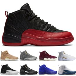 Chinese  Cheap 12 12s men basketball shoes Wheat Dark Grey Bordeaux Flu Game The Master Taxi Playoffs University French Blue Gym Red Sports sneakers manufacturers