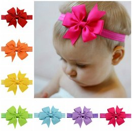 Headbands Bow NZ - Cute newborn baby girls bow headband infant toddler hair band girls hair accessories 20 colors free shipping