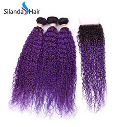 $enCountryForm.capitalKeyWord NZ - Silanda Hair Best Sale 3 Bundles With 4x4 Lace Closure Ombre Color #T 1B Purple Brazilian Remy Human Hair Curly Hair Weft Free Shipping