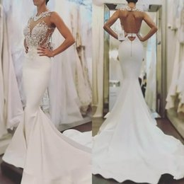2018 Simple Arabic White Mermaid Wedding Dresses Jewel Neck Lace Applique  Beaded See Though Keyhole Backless Satin Sweep Train Bridal Gowns 8db4dd70aac9