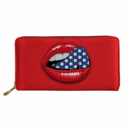 Discount sexy lips phone - Wallet Women PU Leather Purse for Holder Female Sexy Red Lips Cluth Phone Photo Wallets Girls Coin Pouch