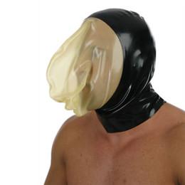 latex fetish hoods mask 2019 - 2018 sexy lingerie unisex Handmade customize size Latex exotic lingerie cekc Fetish Black With Transparent Mask Face hoo