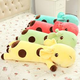 green color dolls 2019 - 5 Color Cute Soft Cartoon Plush Sleeping Lie Giraffe Deer Toy Doll Pillow Cushion,Creative Birthday Gift for Children 40
