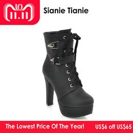 d90ed1d357d Moda gruesos tacones altos Hebilla de metal Zapatos Punk Mujer con  cremallera con cordones Plataforma Botines para mujer Amarillo Botas de moto