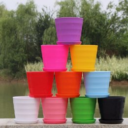 Wholesale Multicolored Resin Flower Plant Pots round solid Garden Crafts Whorl Decorations Home Office Succulent europe pot FFA454
