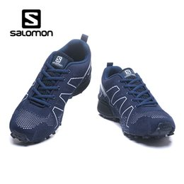 Discount male athletic - Real Salomon SPEEDCROSS fly knit Outdoor Male Flying chaussure zapato Athletic Sport Shoe speed cross trail mountain men