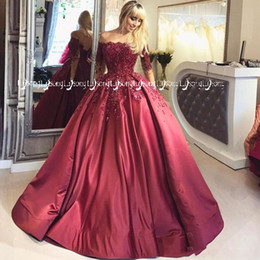 Wholesale Burgundy Vestido de Baile Evening Ball Gown Burgundy Formal Prom Party Wear Ball Dress Backless Half Sleeves Maxi Dress Winter Princess Gown