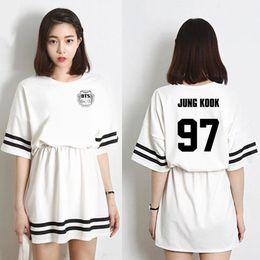 c9663e624 Vestido de verano 2018 Kpop de moda coreana Bts Vestido de manga corta de  Bangtan Boys Mujeres en mismo jin v Jimin vestidos de Harajuku lindos
