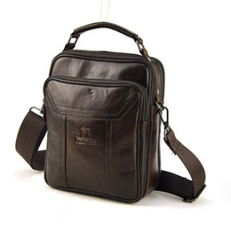 Men Vintage Genuine Leather Shoulder Bag Retro Cross Body Messenger Casual  Daily Work Business Classic Multi Zip Compartment 3806a1075027a