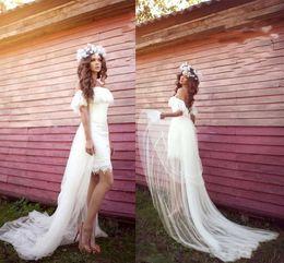 $enCountryForm.capitalKeyWord NZ - Sexy Lace Short Boho Wedding Dresses with Long Train Bateau Neck Cheap Bridal Formal Party Gowns