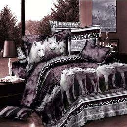 Queen Bedspread Set Canada - Wolf Bedding Set Queen Size 3D Print Brown Color Wolves Animal Duvet Cover Bedspreads 4PCS Beddings Wholesale