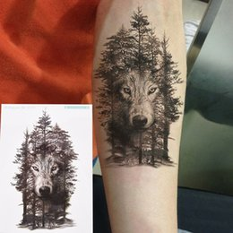 b4dcd435248e2 Waterproof Temporary Tattoo Sticker wolf forest tatto stickers flash tatoo fake  tattoos for women men