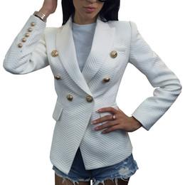 5a58fc7fb29e1 Alta calidad de doble botonadura Blazer mujeres primavera otoño más tamaño  chaqueta de las mujeres chaqueta de algodón blanco Blazers para damas  oficina