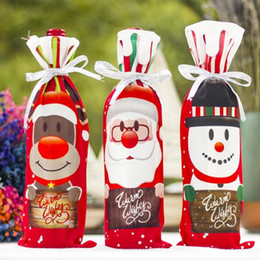 Discount santa stocking holders - Christmas Decorations for Home Santa Claus Wine Bottle Cover Snowman Stocking Gift Holders Xmas Navidad Decor New Year