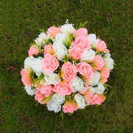 White Rose Arrangements Australia - Silk Rose Artificial Flower Arrangement Table Centerpiece Wedding Bouquet Crafts Roman Pillars Candle Holders Flowers New