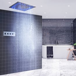 $enCountryForm.capitalKeyWord NZ - Luxury Ceiling LED Shower Faucets 20 inch Square Rain And Mist Spa Overhead Showers Panel 3 Way Thermostatic Mixer Set for bath