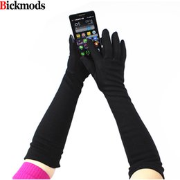 $enCountryForm.capitalKeyWord NZ - Long Knitted Gloves Female Elbow Length High Elastic Cotton Material Button Style Soft Velvet Lining Touch Screen Gloves D18110806