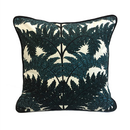velvet chairs UK - Luxurious Fashion Printed Dark Green Tree Decorative Throw Pillow Case Knitted Velvet Floor Sofa Chair Home Bedding Cushion Cover 45x45cm