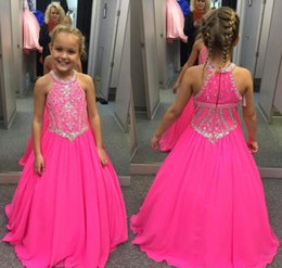 Discount little girls satin party dresses - 2018 Cute Fuchsia Girl's Pageant Dress Princess Beaded Crystals Party Cupcake Young Pretty Little Kids Queen Flower