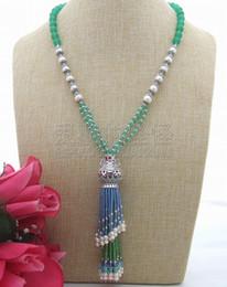 "Necklaces Pendants Australia - N032401 22"" Blue Green White Pearl Pendant Necklace"