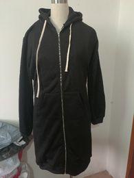 Plus Size Long Cardigan Wholesale Canada - Women's Casual Zip up Hoodies Pockets Tunic Sweatshirt Long Hoodie Outerwear Jacket Plus Size