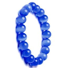 $enCountryForm.capitalKeyWord UK - 6mm 8mm 10mm royal blue Cat Eye Charm Bracelet Semi Precious Stone Round Beads Bracelet For Women Bridal Jewelry Love Gift