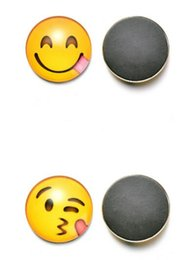 Magnet stickers for kids online shopping - Hot Home Décor Glass Dome Round Cute Smile Emoji Face Expressions Refrigerator Sticker Fridge Magnet For Kids Message Holder Home Decor