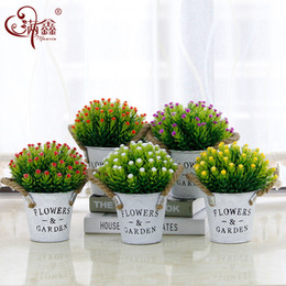 Wholesale Home decoration iron bucket letter hemp rope simulation plant bonsai set artificial plastic starry fake flower pot plant