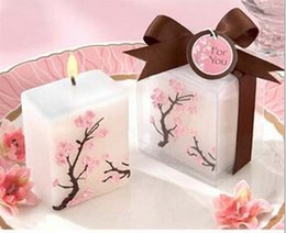 baby shower favor candles UK - 100pcs plum blossom Candle Wedding Baby Shower Birthday Souvenirs Gifts Favor Packaged with PVC Box