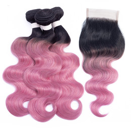 Remy human haiR piece online shopping - T B Pink Red Bundles with Closure Ombre Human Hair Colored Brazilian Body Wave Hair Extension Bundles with Lace Closure