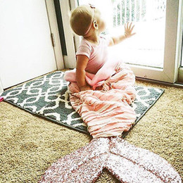 $enCountryForm.capitalKeyWord NZ - Wholesale-Cute Mermaid Blanket Soft Bed Sofa for Kids Baby Crochet Mermaid Blanket Throw Bed Sofa Wrap Sleeping Bag