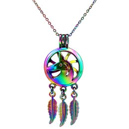 pearl cage pendant wholesalers NZ - C739 Rainbow Color Dream catcher Unicorn Leaf Beads Cage Pendant Essential Oil Diffuser Aromatherapy Pearl Cage Locket Pendant Necklace