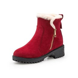 Discount rubber snow chains - Fashion Women Winter Snow Boots Warm Suede Platform Round Toe Ankle Boots For Women Martin Boots Shoes