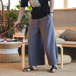 Los hombres de Japón Kimono Style Fashion Casual Faldas Pantalones  Masculinos Pantalones de Color Sólido Harem Pantalones Anchos de Cintura  Elástica 11a736f739e