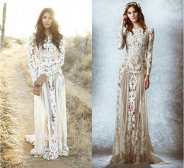 China 2018 New Romantic Zuhair Murad Lace Sheer Wedding Dresses Garden Bridal Gowns Floor Length Appliques Spring Long Sleeves Wedding Gowns cheap murad zuhair red wedding gown suppliers