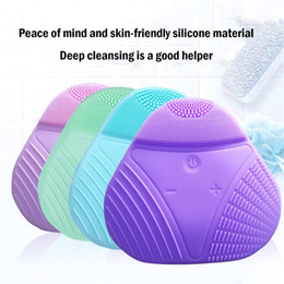 silicone hair brush Canada - Whole body 7 ultrasonic vibration clean deep electric silicone lengthening and fine brush hair face scrubber