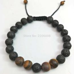 $enCountryForm.capitalKeyWord NZ - Lava Charm Bracelets Black Volcanic Lava Stone Tiger Eye 8mm Beaded bracelet For Women Fashion personality Buddha Men Jewelry