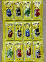 $enCountryForm.capitalKeyWord NZ - The Avengers Figures phone Keychain Batman Superman Iron Man Thor Spiderman Captain America PVC Toys Pendants Cartoon Key chains phone strap