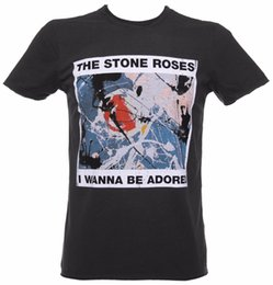 Stone men S clotheS online shopping - AMPLIFIED THE STONE ROSES WANNA BE ADORED MEN S CHARCOAL T SHIRT hoodie hip hop t shirt jacket croatia leather tshirt denim clothes
