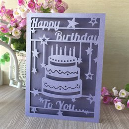 30pcs Lot Exquisite Laser Cut Carved Birthday Card Cake Pattern Sweet Party Decorations Gift Greeting