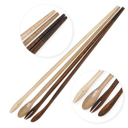 Chinese  3 In 1 Japanese Style Wooden Chopsticks Fork Spoon Delicate Chopsticks Tableware Hot Pot Chopsticks Public Chopstick 2 Colors AAA544 manufacturers