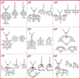 Discount necklace elephant animal - Fashion Women Jewelry Sets 925 Silver Plated Good Luck Elephant Horse Dolphin Life Tree Earrings & Necklace Set Wedding