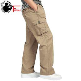 Trousers Big Size Man Canada - MEN'S PANT LARGE SIZE Big 4xl 5xl 6xl Plus Casual Men Elastic Waist Multi Pocket Long Baggy Straight Cargo Jogger Trousers Male