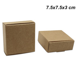 kraft jewelry gift boxes UK - 30 Pieces 7.5x7.5x3cm Kraft Paper Jewelry Accessories Packing Boxes Hand Made Soap Pack Box Card Board Party Gifts Craft Paper Storage Boxes