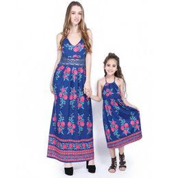 84ba8373ac Family Matching Dresses Mother and Daughter Bohemian Dresses Beach  Suspender Dress Fashion Floral Printed Mom Baby Match Outfits Clothing